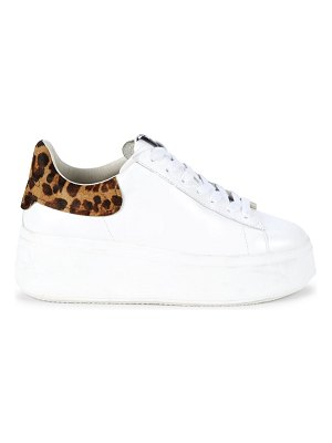Ash moby leopard-print calf-hair trimmed leather platform sneakers