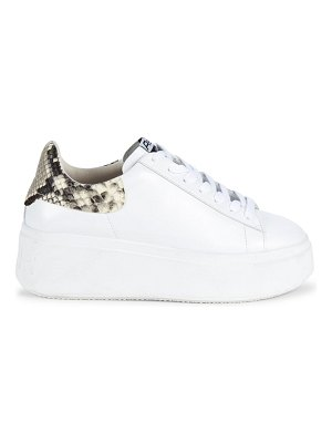 Ash moby snake-print trimmed leather platform sneakers