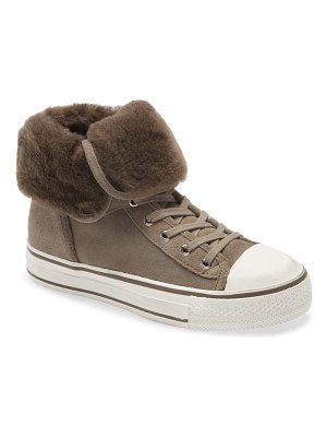 Ash vim lace-up high top sneaker with genuine shearling trim