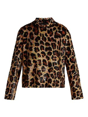 Ashish leopard print sequined top