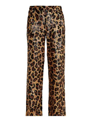 Ashish leopard sequin embellished cotton trousers