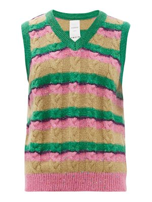 Ashish striped sequinned cable-knit tank top