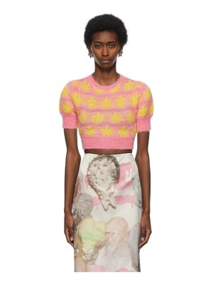 Ashley Williams pink & yellow leaves cropped sweater
