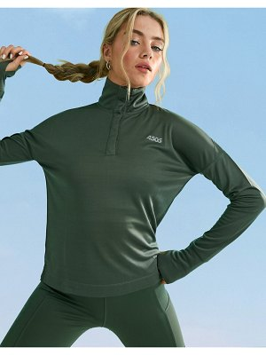 ASOS 4505 icon long sleeve top with 1/4 zip-green
