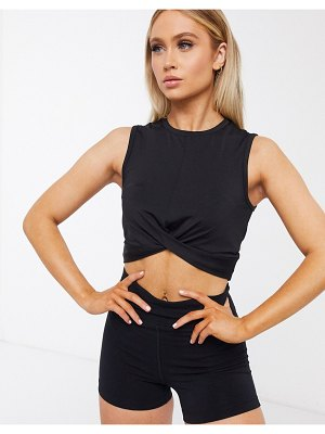 ASOS 4505 knot front cropped tank top-black