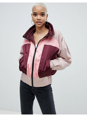 ASOS DESIGN color block bomber jacket-multi