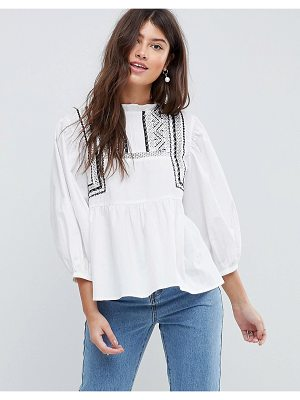 ASOS DESIGN asos cotton victoriana top with contrast lace detail
