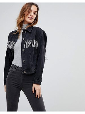 ASOS denim jacket in washed black with beaded fringing