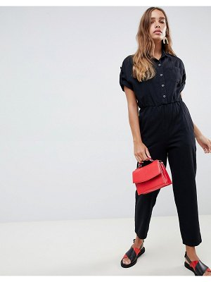 ASOS denim jumpsuit with wide leg in washed black
