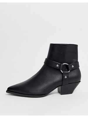 ASOS DESIGN aidan harness western ankle boots in black