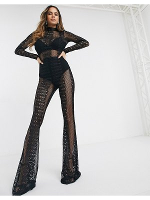 ASOS DESIGN all over lace jumpsuit with long sleeves-black