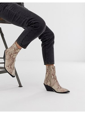 ASOS DESIGN arkansas leather western boots in snake-multi