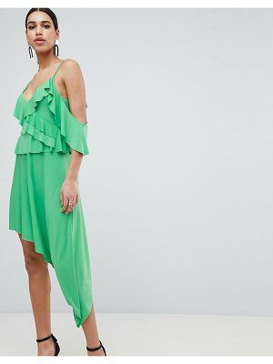 ASOS DESIGN asymmetric ruffle soft midi dress-green