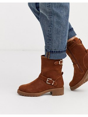 ASOS DESIGN august biker boots in tan