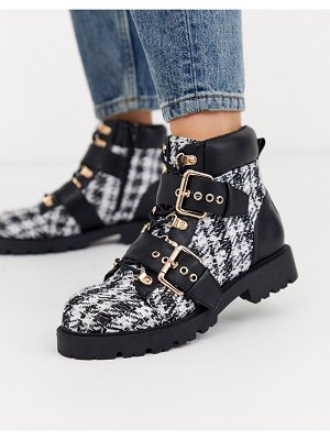 ASOS DESIGN avenue hiker boots in tweed-multi