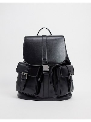 ASOS DESIGN backpack with buckle detail in black