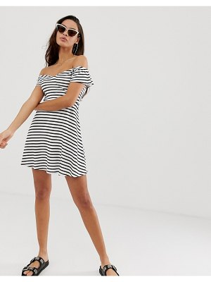 ASOS DESIGN bardot skater sundress in stripe-multi