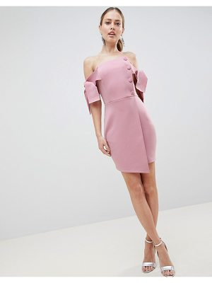 ASOS DESIGN bardot tie sleeve button wrap mini dress
