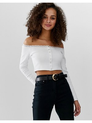 ASOS DESIGN bardot with button front and lace with long sleeve-white