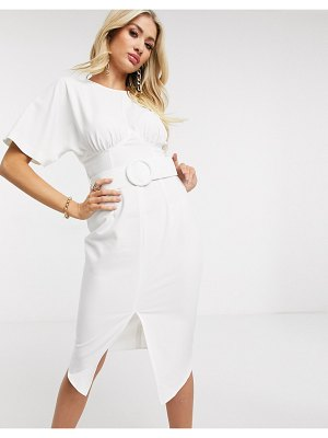 ASOS DESIGN belted midi pencil dress in ivory-white