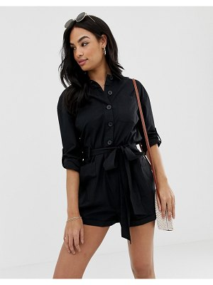 ASOS DESIGN boiler romper with button front and tie waist-black