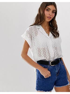 ASOS DESIGN bowling shirt in broderie-white