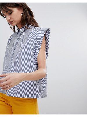 ASOS DESIGN Boxy Shirt With Pleat Detail In Stripe