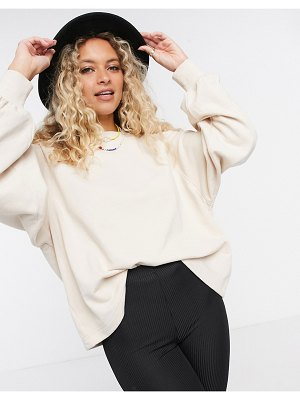 ASOS DESIGN boxy sweatshirt with wide sleeve in stone-white