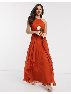 ASOS DESIGN bridesmaid drop waist pinny maxi dress with ruched bodice-orange