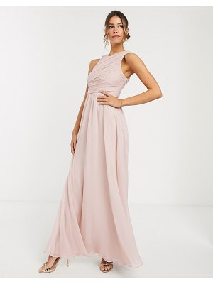 ASOS DESIGN bridesmaid maxi dress with soft pleated bodice-pink