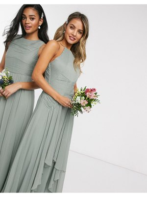 ASOS DESIGN bridesmaid pinny maxi dress with ruched bodice and layered skirt detail-green