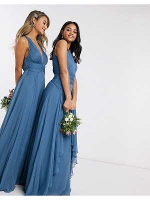 ASOS DESIGN bridesmaid pinny maxi dress with ruched bodice and layered skirt detail in blue