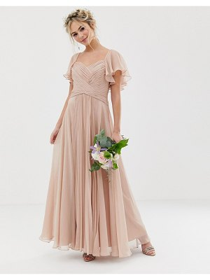 ASOS DESIGN bridesmaid pleated bodice maxi dress with flutter sleeve-pink