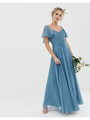 ASOS DESIGN bridesmaid pleated bodice maxi dress with flutter sleeve-blue