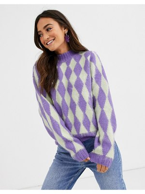 ASOS DESIGN brushed argyle chunky sweater-multi