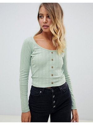 ASOS DESIGN button front long sleeve top in pointelle rib