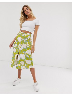 ASOS DESIGN button front midi skirt in vintage floral print-multi