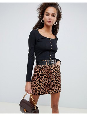 ASOS DESIGN button front scoop neck top with long sleeve and trim