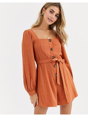 ASOS DESIGN button front tie waist puff sleeve romper with long sleeves