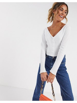 ASOS DESIGN button front top in waffle-white
