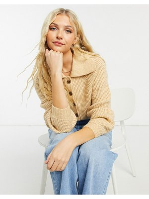 ASOS DESIGN button through cardigan with collar in oatmeal-beige
