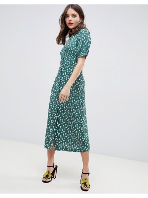 ASOS DESIGN button through maxi tea dress in ditsy floral-multi