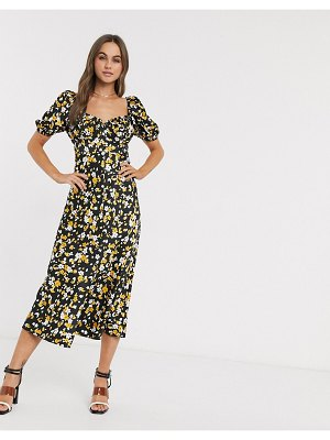 ASOS DESIGN button through maxi tea dress in floral animal print-multi