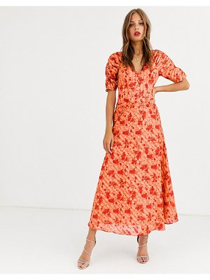 ASOS DESIGN button through maxi tea dress with ruched sleeves in floral print-multi