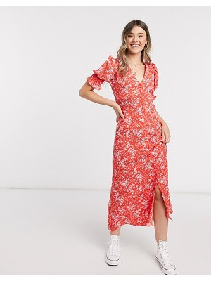 ASOS DESIGN button through maxi tea dress with shirred waist in floral print-multi