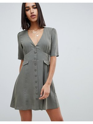 ASOS DESIGN button through mini skater dress with pockets