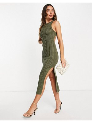 ASOS DESIGN cable knit midi dress with open back and thigh split detail in khaki-green