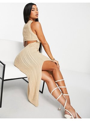 ASOS DESIGN cable knit midi dress with open back and thigh split detail in taupe-brown