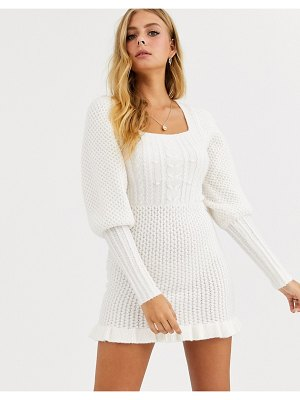 ASOS DESIGN cable knit mini dress with volume sleeve-cream
