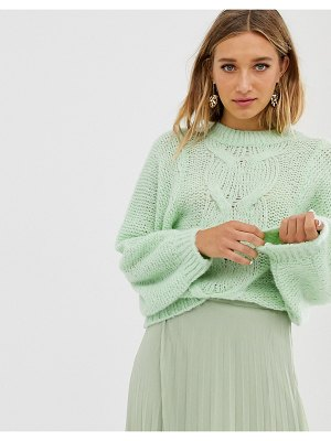 ASOS DESIGN cable sweater in lofty yarn with volume sleeve-green
